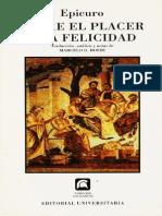 Epicuro Sobre el Placer y La Felicidad