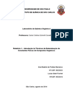 Relatório 1 – Introdução Às Técnicas de Determinação de Constantes Físicas de Compostos Orgânicos