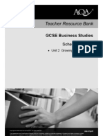 AQA GCSE Unit 2 Growing as a Business Scheme of Work 2010
