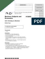 AQA GCSE Unit 2 Growing as a Business Specimen Examination Paper
