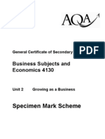 AQA GCSE Unit 2 Growing as a Business Specimen Mark Scheme