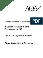 AQA GCSE Unit 8 ICT Systems in Business Specimen Mark Scheme