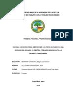 Uso Del Catastro Para Identificar Los Tipos de Clientes Del Servicio de Agua en El Centro Poblado Menor Castillo Grande – Tingo María