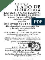 Gramáticas - 1645 - Breve Tratado de Orthographia Latina Y - Francisco Thomas de Cerdaña