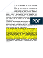 Breve Historia de La Pastoral de Salud