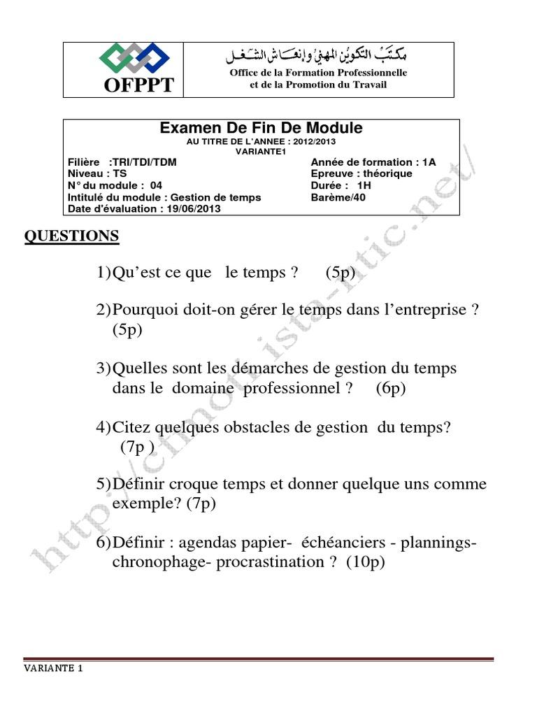 DIAGNOSTIC OFPPT TÉLÉCHARGER FINANCIER PDF