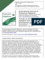 International Journal of Production Research Volume 40 Issue 15 2002 [Doi 10.1080%2F00207540210159581] Nakayama, Shun'Ichi; Nakayama, Ken'Ichiro; Nakayama, Hiroshi -- A Study on Setting Standard Time