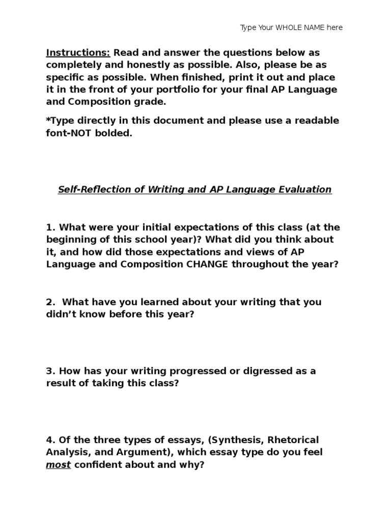 AP Language Self Reflection Response 326 Views