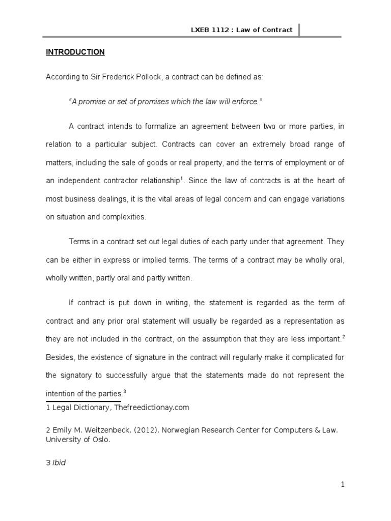 Parol Evidence Rule Parol Evidence Rule Contractual Term