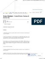 Budget Highlights - Central Excise, Customs & Service Tax