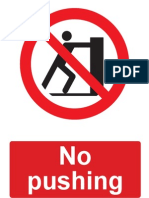 No Pushing Prohibition Sign