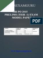 SBI PO Preliminary Model Paper 3