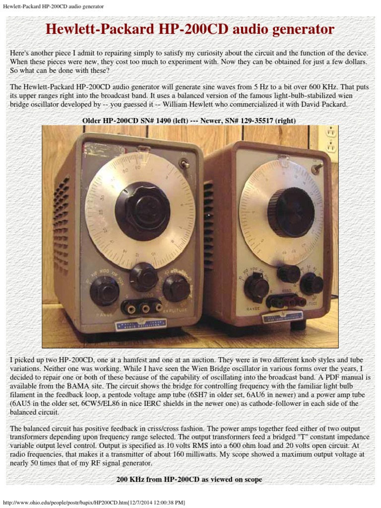 Hewlett Packard Hp 200cd Audio Generator Vacuum Tube Amplifier