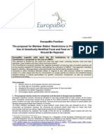 Europabio Position on Proposal for Imports of Gm Food and Feed 28 May