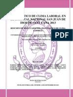 Resumen de Resultados de Diagnostico de Clima Laboral en El Hospital Nacional San Juán de Dios de Santa Ana 2013