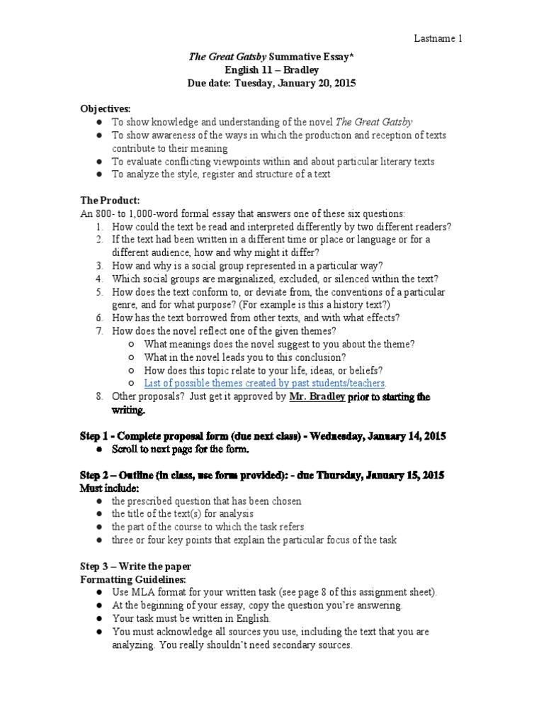 11 english essay titles
