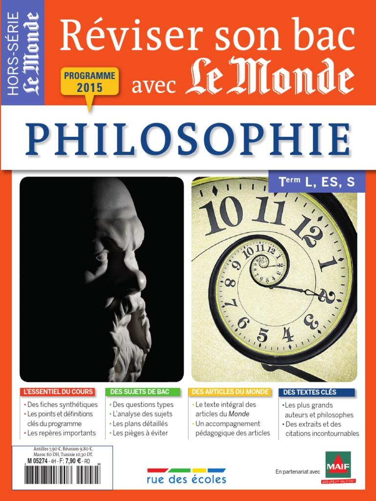 Reviser Son Bac Avec Le Monde Philosophie 2015 Pdf Conscience Inconscient Et Dissertation