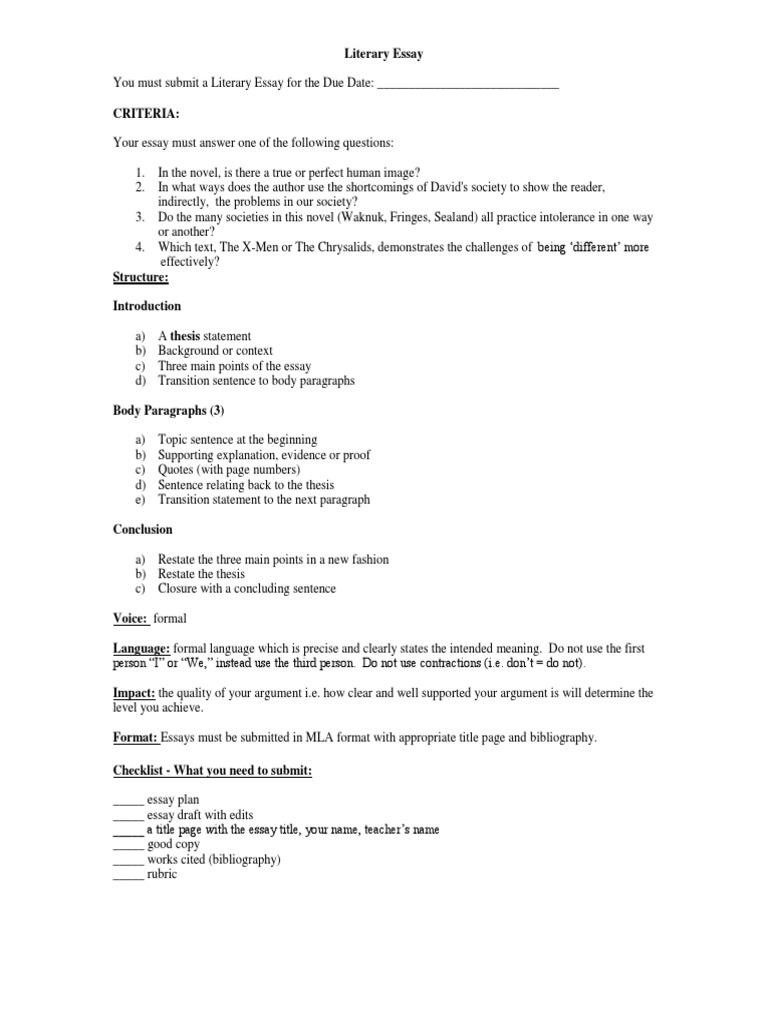 Literary analysis essay worksheet