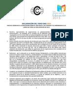 Declaración del Foro ONG 2015