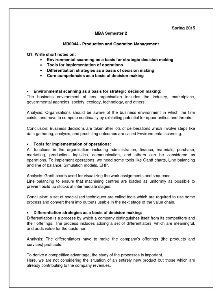 conclusion operation management assignment