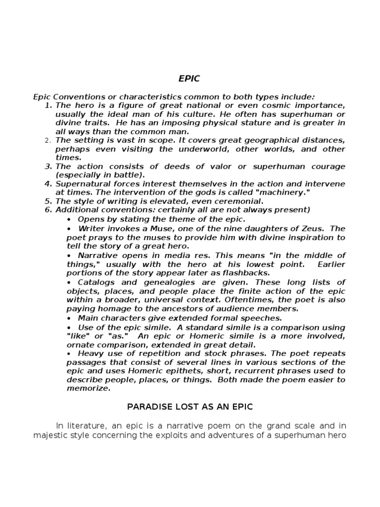 epic characteristics of paradise lost essay Free essay: epic characteristics of paradise lost paradise lost is one of the finest examples of epic tradition in all of literature in composing this work.