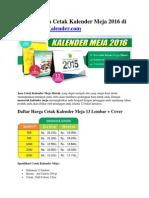 Daftar Harga Cetak Kalender Meja 2016 Di PusatCetakKalender
