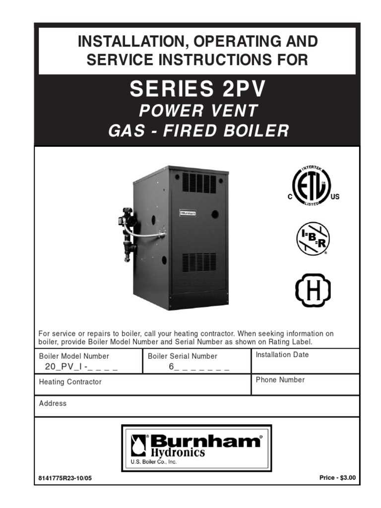 Burnham Series 2pv Install Instructions Water Heating Valve Gas Boiler Wiring Diagrams
