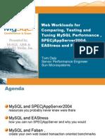 Web Workloads for Comparing, Testing   Tuning MySQL Performance , SPECjAppServer2004, EAStress   Faban Presentation