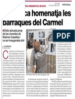Acte de col·locació de la placa a Raimon Casellas en homenatge als veïns de les barraques del Carmel