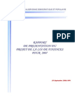 RAPPORT DE PRESENTATION LOI DE FINANCE 2007