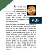 Caracterisiticas del Sistema Solar