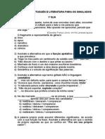 Simulado 1º Eja e 3º b - Língua Portuguesa e Literatura