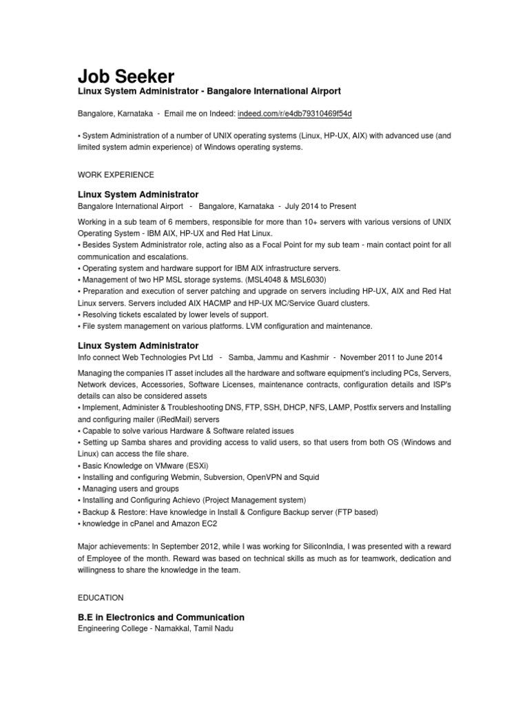 job seeker linux resume sample