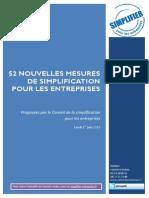 DP Simplification Entreprises - 52 Nouvelles Mesures - Juin 2015