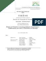 1 Thesis Etude de Primitives Cryptographiques Symetriques Chifferements Par Flot Et Fonctions de Hachage