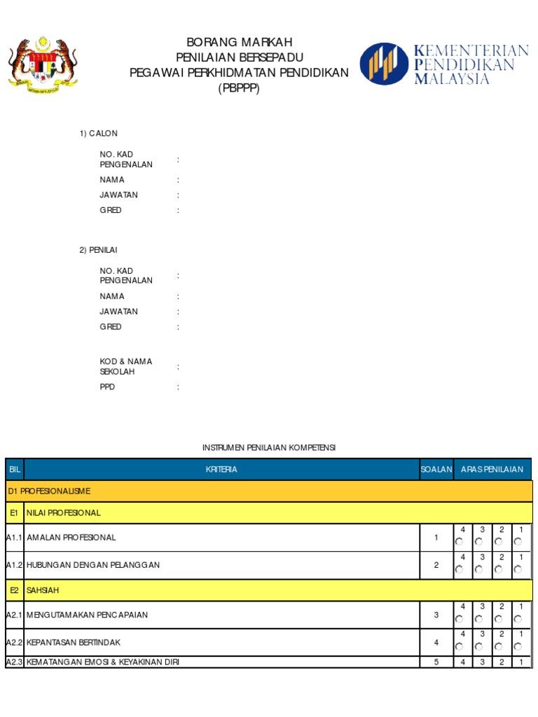 Borang Markah Pbppp Pdf