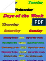 Days of the Week and Ordinal Numbers Powerpoint