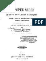 L`Epopee Serbe ; Shants Populaires Heroiques (1888.) - Auguste Dozon