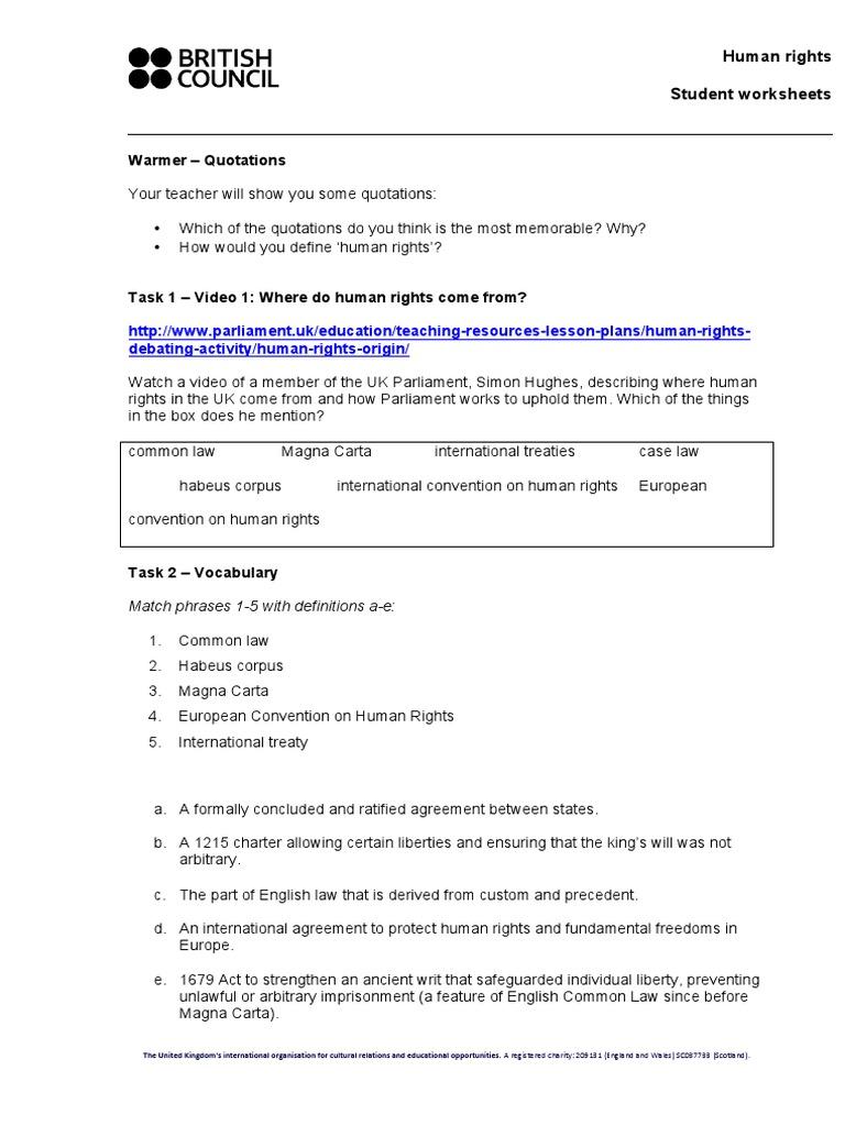 Worksheets Magna Carta Worksheet human rights films student worksheets anthony final gillian scott no pics 0 magna carta rights