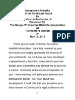 Justice Harper's Remarks Trailblazer Award Acceptance Speech From the George W. Crawford Black Barr Assoc