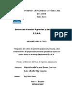 respuesta del cultivo de pimiento Capsicum annum, a dos biofertilizantes de preparacion artesanal aplicando  al suelo con cuatro dosis