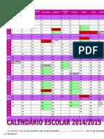 Calendário Escolar 2014-2015 Anual