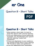 paper one - question b - short talk
