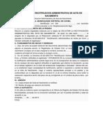 Solicitud de Rectificacion Administrativa de Acta de Nacimiento