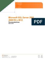 Microsoft SQL Server 2005, 2008 R2 y 2012.