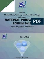 Paparan Menristek Dikti pad acara NIF 2015