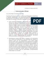 Comunicado Oficial CAFILO respecto a movilizaciones