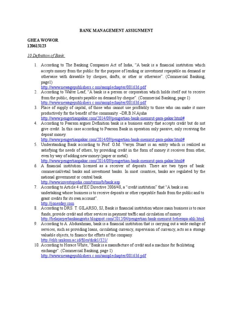 bank management assignment banks credit finance