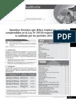 Aprueban formatos a emplear las sociedades comprendidas en la ley N° 29720 respecto a la financiera auditada por los periodos 2011 y 2012- 1ra Parte