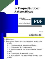 05 Algebra - Ecuaciones de Primer y Segundo Grado FCQI ARM
